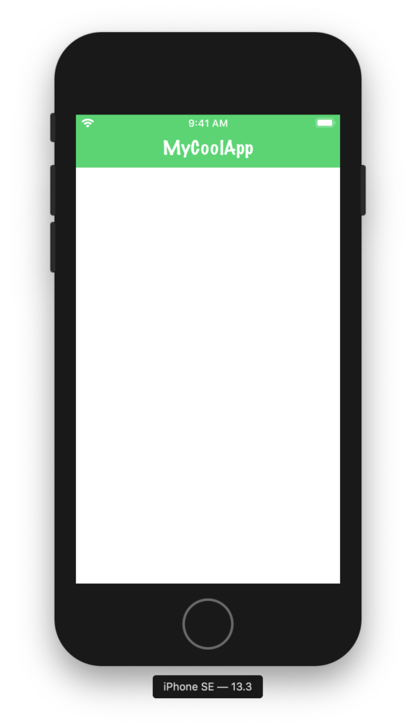 Our custom-styled navigation bar has a green background and a custom font.